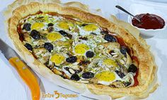 Coca de Hojaldre con Huevos y Caballa en Aceite Coco, Vegetable Pizza, Vegetables, Cooking, Puff Pastry Tarts, Onion Rings, Oven Recipes, One Pot Dinners, Sweet And Saltines