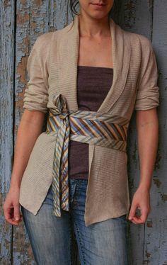 Cinturón corsé Classic Stripes Upcycled seda por elsiemontreal #Recycle #Reciclaje #Corbatas #Ties