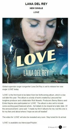 Official press release for Lana Del Rey's new single 'Love' and forthcoming album #LDR #news