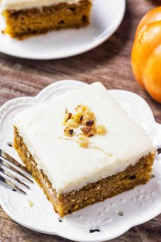 This pumpkin cake with maple frosting is the perfect fall dessert. The cake is moist & filled with warm fall spices, and you'll love the sweet maple buttercream.