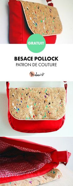 La Besace Pollock - patron couture et explications détaillées - Helloo Bag Patterns To Sew, Sewing Patterns Free, Free Sewing, Sewing Tutorials, Sewing Projects, Dress Tutorials, Coin Couture, Couture Sewing, Diy Bags Purses