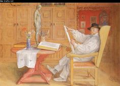 Carl Larsson self-portrait in the Studio