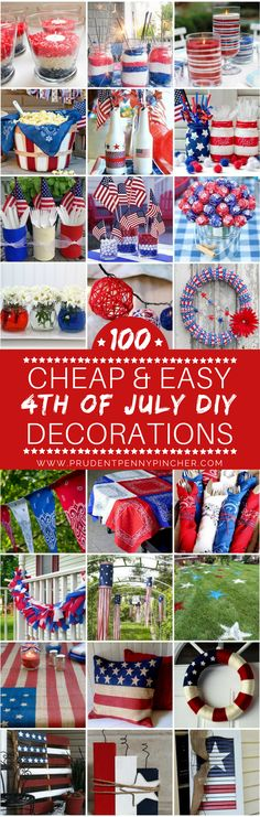 Shares Check out these creative 4th of July decoration ideas that are easy to make and easy on the wallet. These patriotic DIY projects are sure to impress your 4th of July party guests.  There are wreaths, banners, centerpieces, garlands, table decorations and so much more! Craft Supplies You May Need: double sided tape hot glue gun and glue …