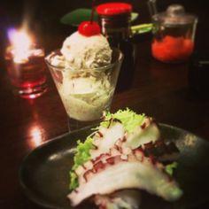 Ogura ice cream and tako sashimi
