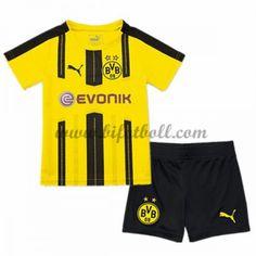 b28300a3 Billiga Fotbollströjor Kits BVB Borussia Dortmund Barn 2016-17 Kortärmad  Hemma Fotbollsdräkter