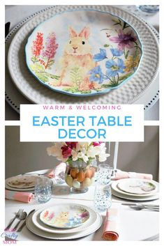 Sharing easy table ideas to enjoy a cozy Easter dinner at home with a warm and welcoming Easter bunny theme and a centerpiece with farm fresh eggs. dinner centerpiece Enjoy Easter Dinner At Home With These Easy Table Ideas Easter Table Settings, Easter Table Decorations, Easter Decor, Table Centerpieces, Easy Table, Easter Dinner, Easter Crafts, Decor Crafts, Easter Bunny