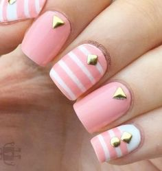 Cute baby pink and white spring nail art design. Give your nails that fresh new look as you welcome the spring. To make the light colors strand out add gold embellishments on top as accent. Pretty Nail Colors, Pretty Nail Designs, Nail Designs Spring, Nail Art Designs, Spring Nail Art, Spring Nails, Summer Nails, Manicure Y Pedicure, Pedicure Ideas