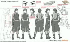 Character sheets for Kuvira in The Legend of Korra