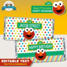 Editable Elmo Tickle monster sesame Street Birthday Party candy bar wrapper - Hershey's wrapper by LilFacesPrintables, $4.95 - INSTANT DOWNLOAD