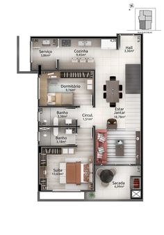 Layouts Casa, House Layouts, Apartment Floor Plans, House Roof, Geometric Designs, Modern House Design, Home Living Room, Location, House Plans