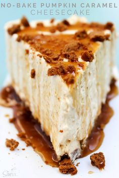 No-Bake Pumpkin Caramel Cheesecake Thanksgiving Desserts, Fall Desserts, No Bake Desserts, Just Desserts, Delicious Desserts, Dessert Recipes, Yummy Food, Healthy Desserts, Cupcakes