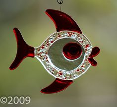 Stained Glass Fused Bubble Fish by FunkyWindowGlass on Etsy, $18.00