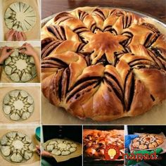 Here's a super cute idea to make a braided nutella star bread for your meals. I always love homemade bread because I like the fresh smell when the hot bread is Nutella Star Bread, Braided Nutella Bread, Comida Diy, Snacks Für Party, Greek Recipes, Food Items, Diy Food, Scones, Stuffed Peppers