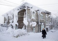 Oymakon, Russia is the coldest cities on earth. That house looks like a block of ice.