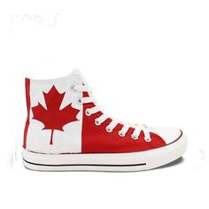 7393f62766 Mens Womens Canadian Maple Leaf Hand Painted High Top Canvas Shoe - The  GearBuyz Store