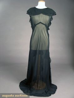 Black Chiffon Evening Gown, 1930s, Augusta Auctions, May 2007 Vintage Clothing & Textile Auction, Lot 756