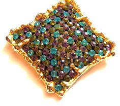 VINTAGE Jewelry ROBERT MANDLE  SIGNED MODERNIST RHINESTONE BROOCH 1950's #RobertMandle