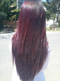 Dark burgundy cut with long straight layers. honestly.... i love this color. i have not guts.