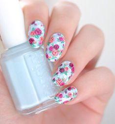 Vintage pink rose nail design