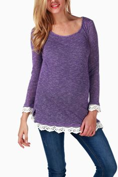 Look at this PinkBlush Maternity Purple Crochet-Trim Maternity Sweater - Women on today! Maternity Sweater, Maternity Tops, Maternity Fashion, Fit 30, Sweater Making, Pink Blush Maternity, Crochet Trim, Modest Dresses, Cute Tops