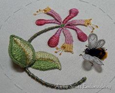 Honeysuckle & Bee, stumpwork embroidery