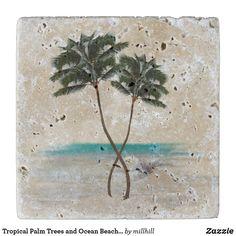 Tropical Palm Trees and Ocean Beach Stone Coaster