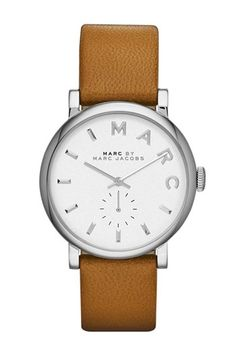 Montre pour femme : Marc by Marc Jacobs Womens Baker Mocha Textured Leather Strap Watch Womens Watches Jewelry & Watches Macys Marc Jacobs Uhr, Marc Jacobs Watch, Stainless Steel Jewelry, Stainless Steel Case, Shops, Tan Leather, Jewelry Watches, Women's Watches, Wrist Watches
