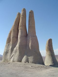 Hand of the Desert, Atacama / Chile. Meg's been to Chile and wants to go back. Land Art, Places To Travel, Places To See, Beautiful World, Beautiful Places, Formations Rocheuses, World Of Wanderlust, South America Travel, Places Around The World