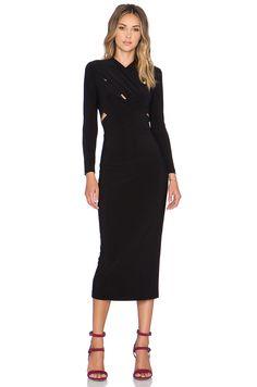 Norma Kamali NORMA KULTURE X Cross Midi Dress in Black