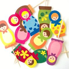 Matryoshka Cupcake Toppers Set of 10 Picks by TheBlissfulBaker