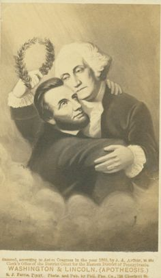 Illustration of George Washington and Abraham Lincoln embracing as Washington welcomes Lincoln to the heavens with a laurel wreath. (1865) Missouri History Museum