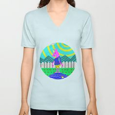 Summertime Unicorn V-neck T-shirt