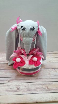 Elephant Diaper Cake Pink Diaper Cake Baby by OnceinaLullabyGifts