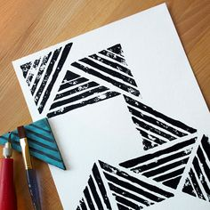 Make your own geometric stamp and create art in any size! This project is great for beginning print makers.
