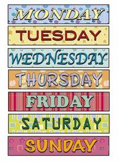 giorni della settimana: Giorni della settimana