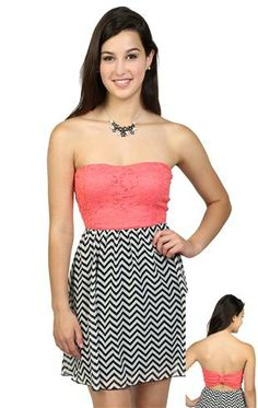 Deb Shops #floral #lace and #chevron chiffon day dress with open knot bow back $29.90