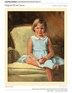 Heirloom oil painting by LEON LOARD™ Commissioned Portraits Artist Chris Saper, Child, Original Oil on Canvas, Girl, 025079