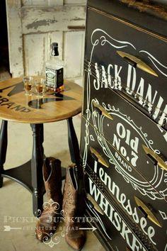 Jack Daniels dresser and side table, hand painted {Pickin' Junktion Furniture Rehab}