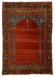 Sarouk Fereghan prayer rug   west persia, circa late 19th century    5 ft. 10 in. x 4 ft. 2 in.  - FREEMAN'S