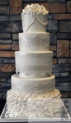 5 tier Fondant Wedding Cake with Pearls & flowers