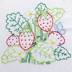 SUMMER STRAWBERRIES A sweet bunch of juicy strawberries is visited by a little butterfly.  This is a PDF embroidery pattern digital file download. No