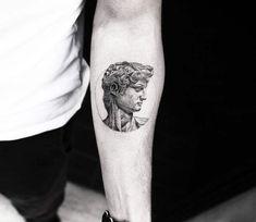 Bust of David tattoo by Alessandro Capozzi - - Tattoo Pattern Word Tattoos, Mini Tattoos, Cute Tattoos, Beautiful Tattoos, Body Art Tattoos, New Tattoos, Tattoos For Guys, Tatoos, Michelangelo Tattoo