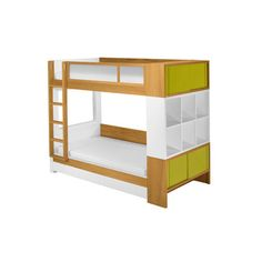 Cool bunk beds with storage.  We have a similar bed from IKEA for 1/3 the price that you could probably pretty easily attach one of their cube storage systems to.