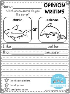 Writing Prompt: Opinion Writing for first grade. This is also great for kindergarten and second grade to build confidence in writing.