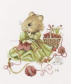 Vera the Mouse – Knitting Cross Stitch Kit By Marjolein Bastin for Lanarte