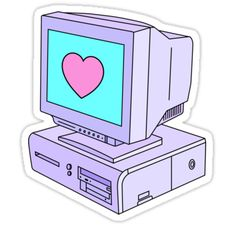 """""""Computer Love"""" Stickers by Royal Sass Stickers Cool, Preppy Stickers, Tumblr Stickers, Anime Stickers, Kawaii Stickers, Printable Stickers, Laptop Stickers, Journal Stickers, Planner Stickers"""