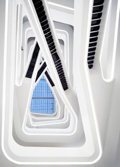 Dominion Office Building in Moscow by Zaha Hadid features a dramatic black-and-white atrium