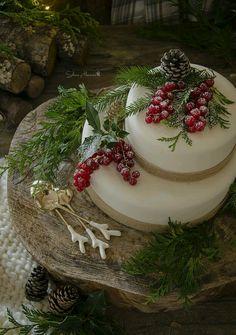 Christmas 4U rustic woodland food display. Cake or cheese wheel