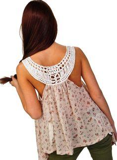 Crochet back detail.