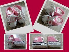 Tenis rosa em crochet